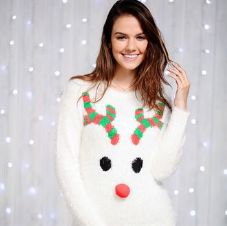 WOMEN'S EYELASH YARN RUDOLPH JUMPER